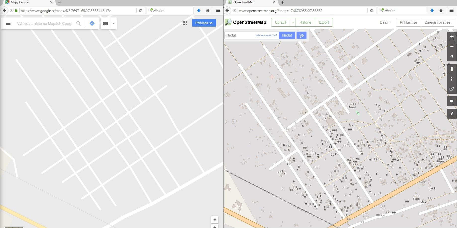 srovnání Open Street Map a Google Maps