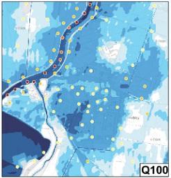 Povodňové hloubky a rychlosti v obci Troubky při průtoku Q100