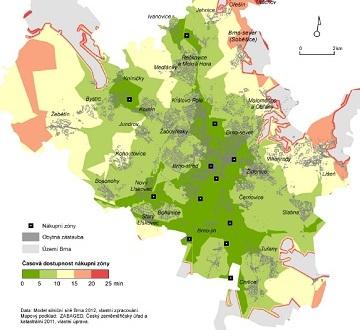 Mapa dopravní dostupnosti nákupních zón MHD