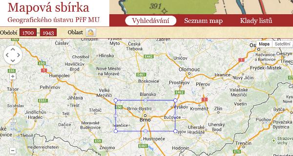 Vyhledávací katalog digitalizované mapové sbírky Geografického ústavu